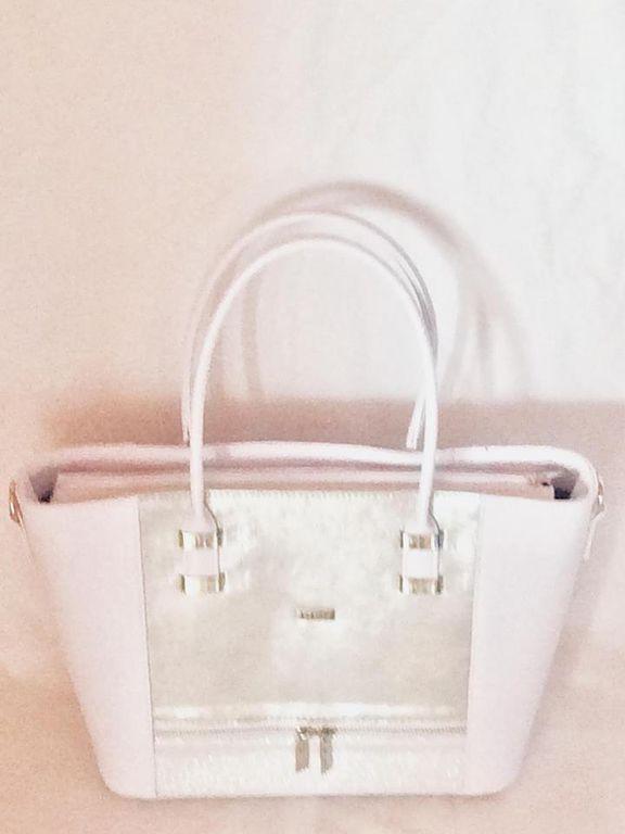 22e5310f6e Via55 fehér-ezüst rostbőr női táska