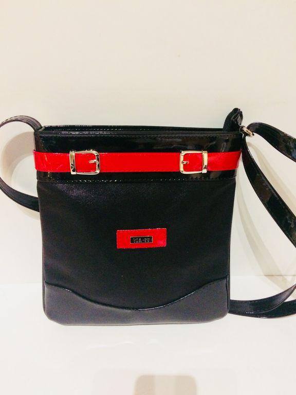 VIA55 Női Crossbody táska oldaltáska fekete-piros b558dfad69